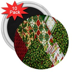 Christmas Quilt Background 3  Magnets (10 Pack)