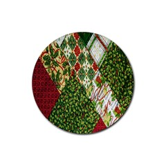 Christmas Quilt Background Rubber Round Coaster (4 Pack)