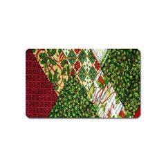 Christmas Quilt Background Magnet (Name Card) by Nexatart
