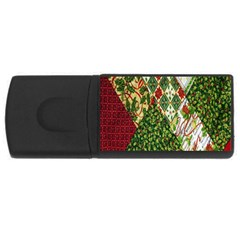 Christmas Quilt Background Usb Flash Drive Rectangular (4 Gb) by Nexatart