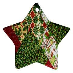 Christmas Quilt Background Star Ornament (two Sides)