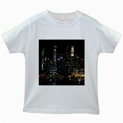 City At Night Lights Skyline Kids White T Shirts