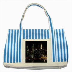 City At Night Lights Skyline Striped Blue Tote Bag by Nexatart
