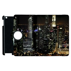 City At Night Lights Skyline Apple Ipad 2 Flip 360 Case