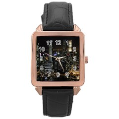 City At Night Lights Skyline Rose Gold Leather Watch