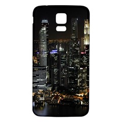 City At Night Lights Skyline Samsung Galaxy S5 Back Case (white)