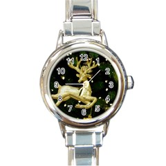 December Christmas Cologne Round Italian Charm Watch by Nexatart