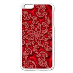 Fractal Art Elegant Red Apple Iphone 6 Plus/6s Plus Enamel White Case by Nexatart