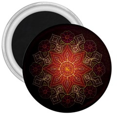 Floral Kaleidoscope 3  Magnets by Nexatart