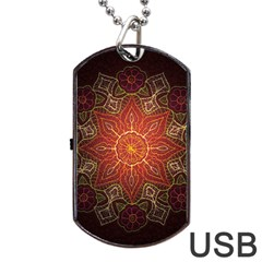 Floral Kaleidoscope Dog Tag Usb Flash (two Sides)