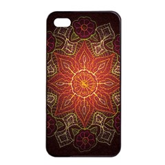 Floral Kaleidoscope Apple Iphone 4/4s Seamless Case (black) by Nexatart