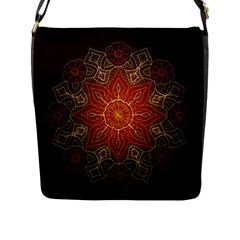 Floral Kaleidoscope Flap Messenger Bag (l)  by Nexatart