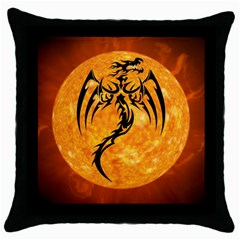 Dragon Fire Monster Creature Throw Pillow Case (black) by Nexatart