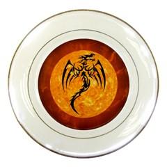 Dragon Fire Monster Creature Porcelain Plates by Nexatart
