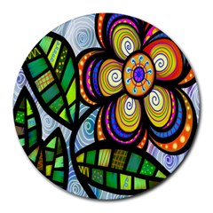 Folk Art Flower Round Mousepads