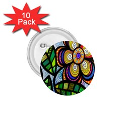 Folk Art Flower 1 75  Buttons (10 Pack) by Nexatart