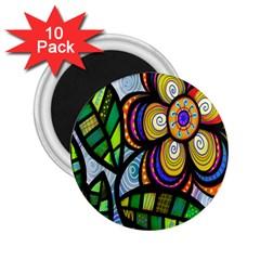 Folk Art Flower 2 25  Magnets (10 Pack)  by Nexatart