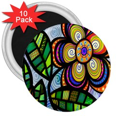 Folk Art Flower 3  Magnets (10 Pack)