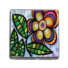 Folk Art Flower Memory Card Reader (square) by Nexatart