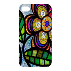 Folk Art Flower Apple Iphone 4/4s Premium Hardshell Case
