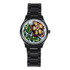 Folk Art Flower Stainless Steel Round Watch