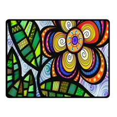 Folk Art Flower Double Sided Fleece Blanket (small)