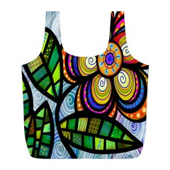 Folk Art Flower Full Print Recycle Bags (l)