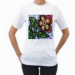 Folk Art Flower Women s T Shirt (white)