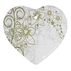 Flowers Background Leaf Leaves Heart Ornament (two Sides)
