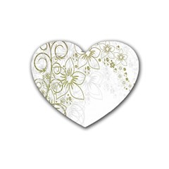 Flowers Background Leaf Leaves Heart Coaster (4 Pack)  by Nexatart