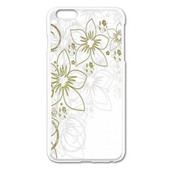 Flowers Background Leaf Leaves Apple Iphone 6 Plus/6s Plus Enamel White Case by Nexatart