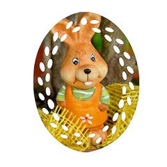Easter Hare Easter Bunny Oval Filigree Ornament (two Sides) by Nexatart