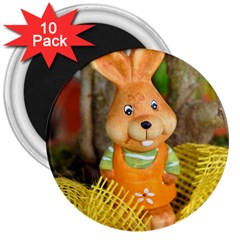 Easter Hare Easter Bunny 3  Magnets (10 Pack)  by Nexatart