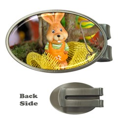 Easter Hare Easter Bunny Money Clips (oval)  by Nexatart
