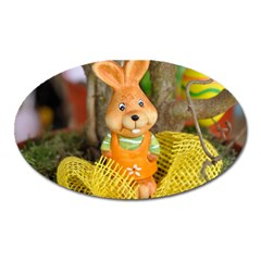 Easter Hare Easter Bunny Oval Magnet by Nexatart