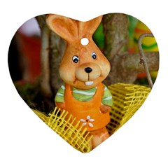 Easter Hare Easter Bunny Heart Ornament (two Sides)