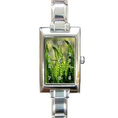 Fern Ferns Green Nature Foliage Rectangle Italian Charm Watch by Nexatart