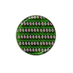 Floral Pattern Hat Clip Ball Marker (4 Pack) by Nexatart