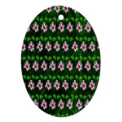 Floral Pattern Oval Ornament (two Sides) by Nexatart