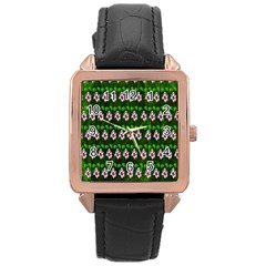 Floral Pattern Rose Gold Leather Watch  by Nexatart