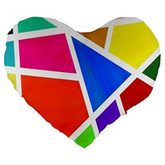 Geometric Blocks Large 19  Premium Flano Heart Shape Cushions by Nexatart