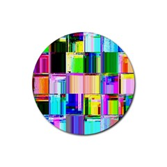 Glitch Art Abstract Rubber Coaster (round)
