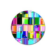 Glitch Art Abstract Magnet 3  (round) by Nexatart