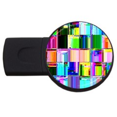 Glitch Art Abstract USB Flash Drive Round (4 GB) by Nexatart