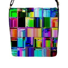 Glitch Art Abstract Flap Messenger Bag (l)