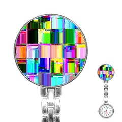 Glitch Art Abstract Stainless Steel Nurses Watch