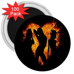 Heart Love Flame Girl Sexy Pose 3  Magnets (100 pack) by Nexatart