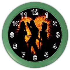 Heart Love Flame Girl Sexy Pose Color Wall Clocks by Nexatart