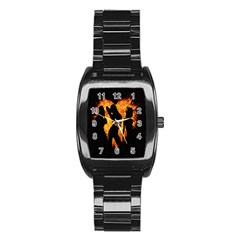 Heart Love Flame Girl Sexy Pose Stainless Steel Barrel Watch by Nexatart