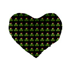 Irish Christmas Xmas Standard 16  Premium Flano Heart Shape Cushions by Nexatart